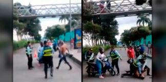 Se fue a los golpes con las autoridades para evitar inmovilización de su moto