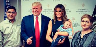 Donald Trump y Melania posan sonrientes con el bebé que quedó huérfano tras el tiroteo en El Paso