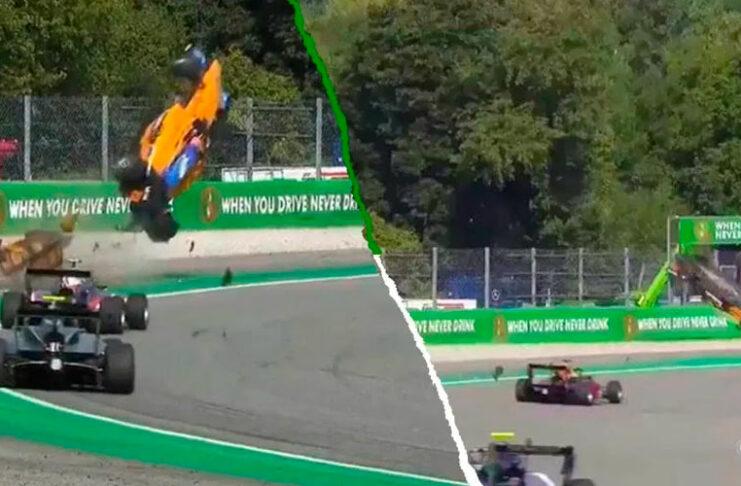 Alex Peroni piloto de la Fórmula 3 vuela por el aire y sobrevive