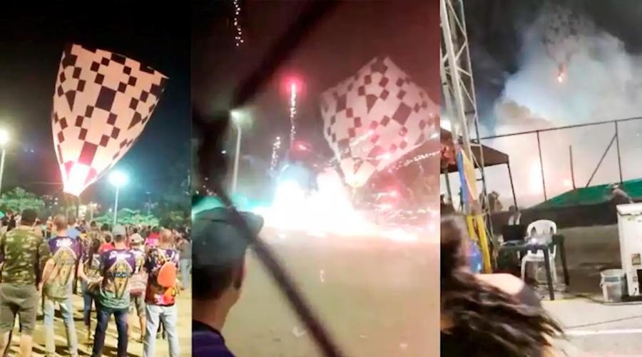 VÍDEO: Globo cargado con pólvora, explotó en Itagüí