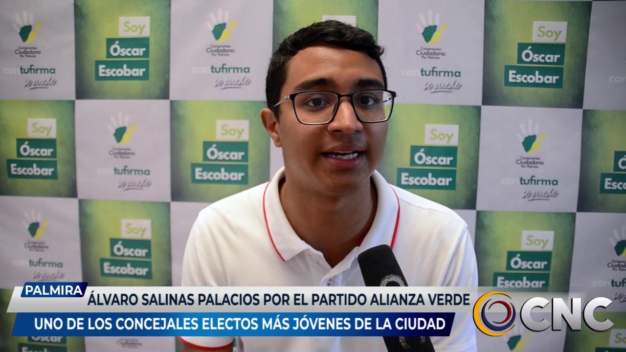 Álvaro Salinas Palacios por el partido verde, uno de los concejales más jóvenes de Palmira