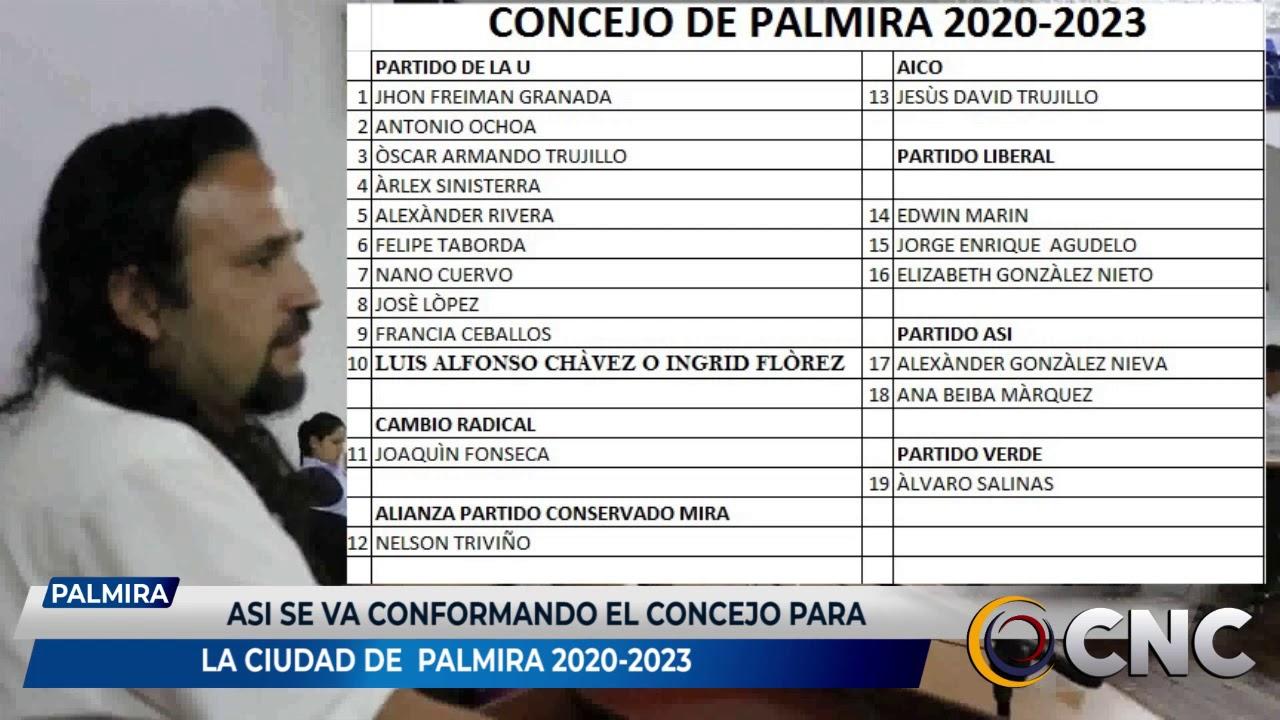 Así se va conformando el concejo de Palmira 2020 – 2023