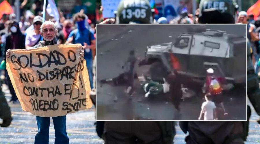 Joven Protestante en Chile es EMBESTIDO por carros de la Policía