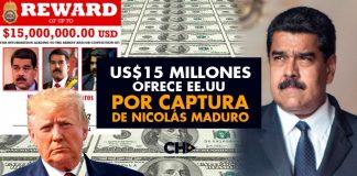 US$15 millones ofrece EE.UU por captura de Nicolás Maduro