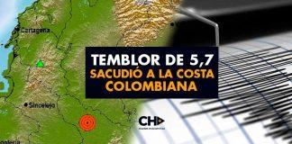 Temblor de 5,7 sacudió a la Costa Colombiana