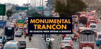 Monumental trancón en Soacha para entrar a Bogotá
