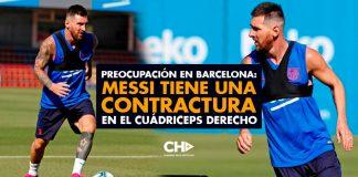 Preocupación en Barcelona: Messi tiene una contractura en el cuádriceps derecho