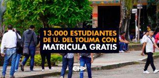 13.000 estudiantes de U. del Tolima con Matricula GRATIS