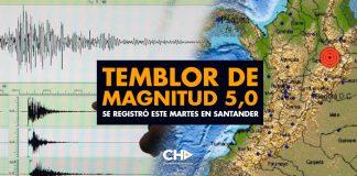 Temblor de magnitud 5,0 se registró este martes en Santander