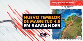 Nuevo temblor de magnitud 4,8 en Santander