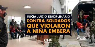 Inicia juicio disciplinario contra soldados que violaron a niña Embera