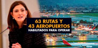 63 Rutas y 43 Aeropuertos habilitados para operar