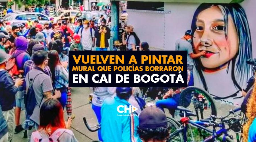 Vuelven a pintar mural que policías borraron en CAI de Bogotá