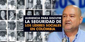 Audiencia para discutir la Seguridad de los Líderes sociales en Colombia