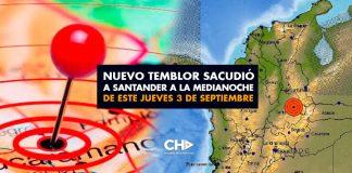Nuevo Temblor sacudió a Santander a la medianoche de este Jueves 3 de Septiembre