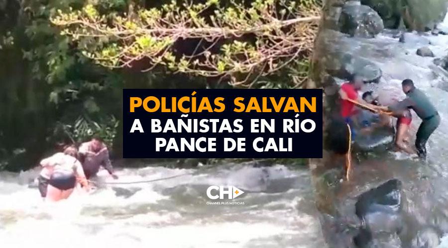 Policías salvan a bañistas en río Pance de Cali