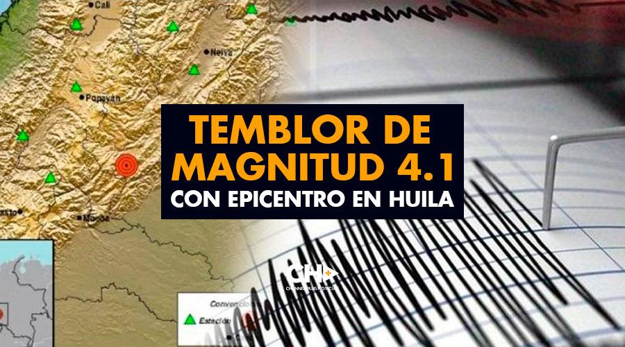Temblor de magnitud 4.1 con epicentro en Huila