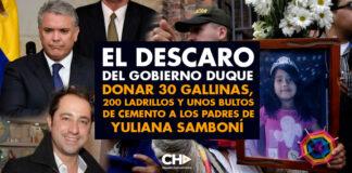 El DESCARO del gobierno Duque al donar 30 gallinas, 200 ladrillos y unos bultos de cemento a los padres de Yuliana Samboní