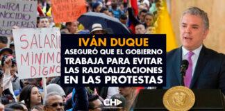 Iván Duque aseguró que el Gobierno trabaja para evitar las radicalizaciones en las protestas
