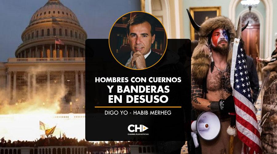 HOMBRES CON CUERNOS Y BANDERAS EN DESUSO