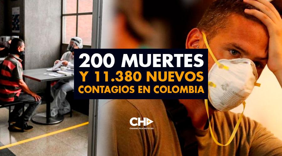 200 Muertes y 11.380 Nuevos Contagios en Colombia