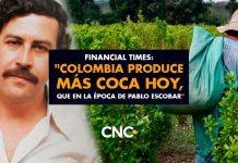 """Financial Times: """"Colombia produce más COCA hoy, que en la época de Pablo Escobar"""""""