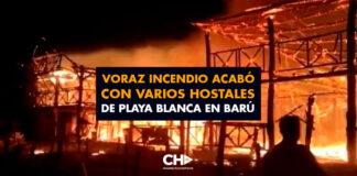 Voraz incendio acabó con varios hostales de Playa Blanca en Barú