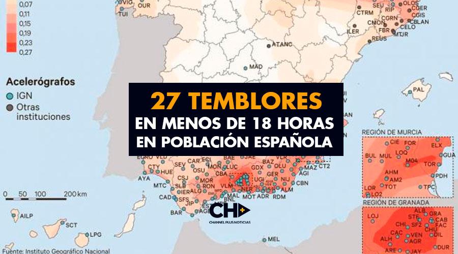 27 Temblores en menos de 18 horas en población Española