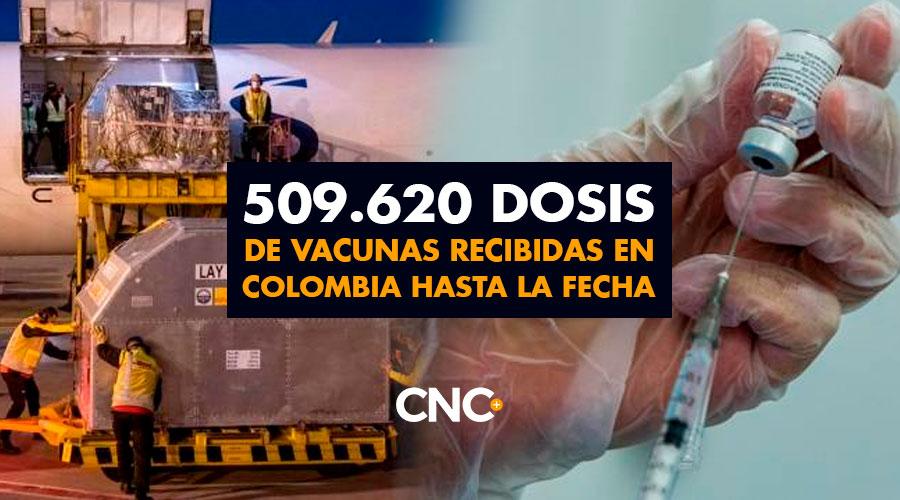 509.620 Dosis de vacunas recibidas en Colombia hasta la fecha