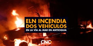 ELN incendia dos vehículos en la vía al mar en Antioquia