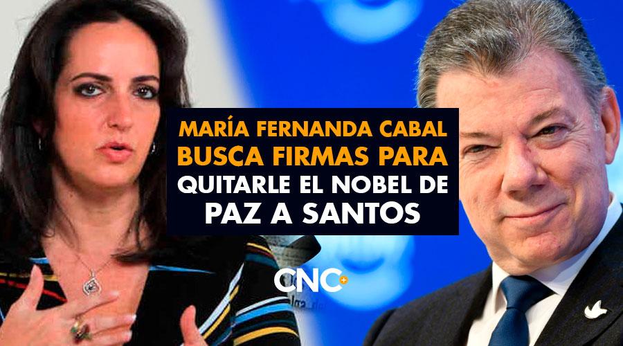 María Fernanda Cabal busca firmas para quitarle el Nobel de Paz a Santos