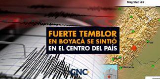 Fuerte TEMBLOR en Boyacá se sintió en el centro del país