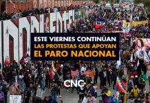 Este Viernes continúan las protestas que apoyan el Paro Nacional