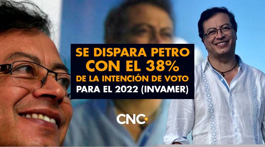 Se DISPARA Petro con el 38% de la Intención de Voto para el 2022 (Invamer)