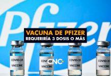 Vacuna de Pfizer requeriría 3 dosis o más