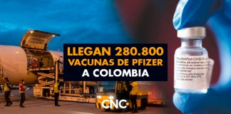 Llegan 280.800 vacunas de Pfizer a Colombia