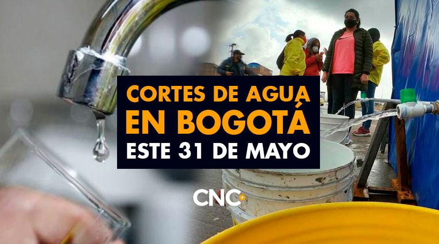 Cortes de agua en Bogotá este 31 de Mayo