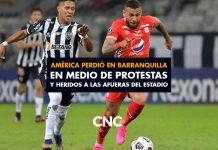 América perdió en Barranquilla en medio de protestas y heridos a las afueras del estadio