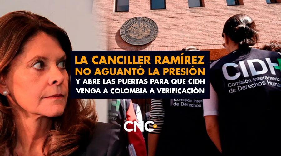 La Canciller Ramírez no aguantó la presión y abre las puertas para que CIDH venga a Colombia a verificación