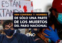 HRW confirma 11 nombres de sólo una parte de los muertos del Paro Nacional