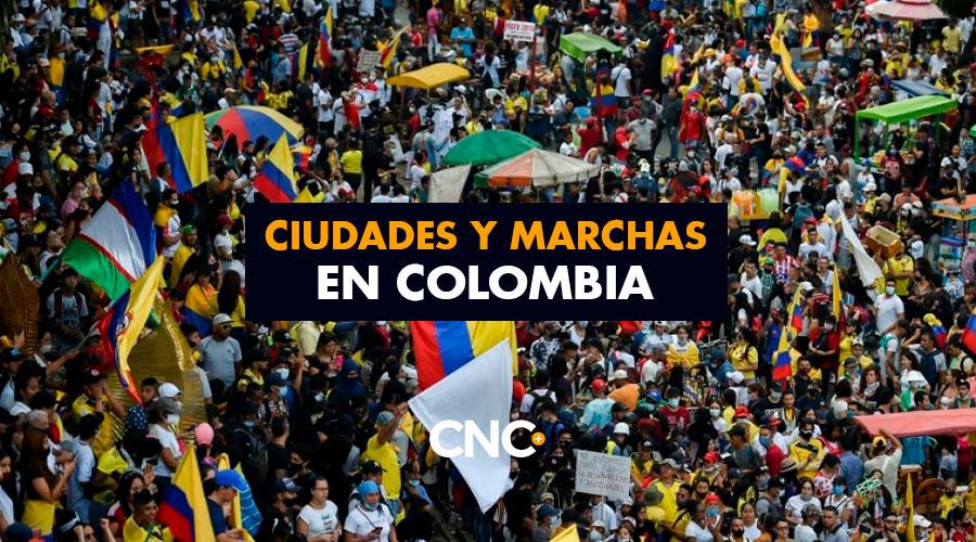 Ciudades y Marchas en Colombia