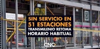SIN SERVICIO en 51 estaciones Transmilenio retoma horario habitual