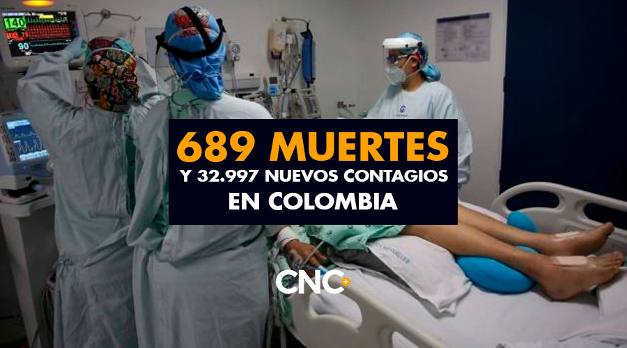 689 Muertes y 32.997 Nuevos Contagios en Colombia