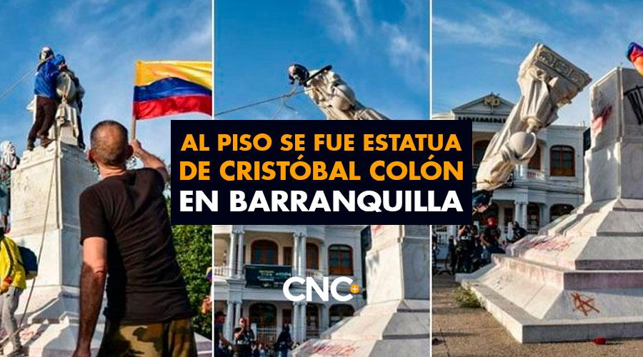 Al piso se fue estatua de Cristóbal Colón en Barranquilla