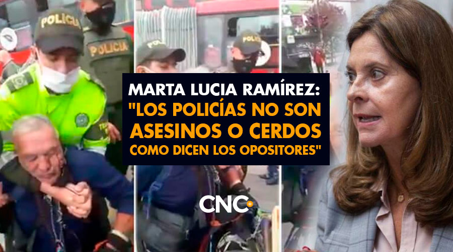 """Marta Lucia Ramírez: """"Los policías no son asesinos o cerdos como dicen los opositores"""""""