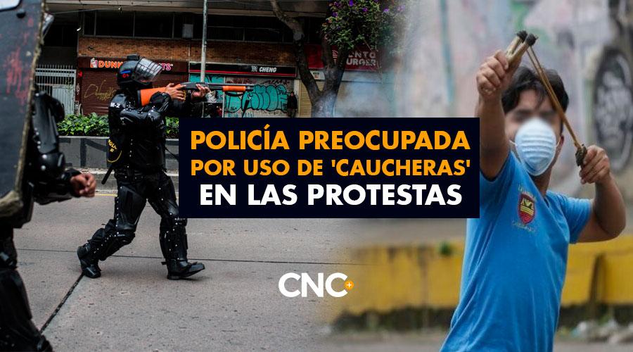 Policía preocupada por uso de 'Caucheras' en las protestas y el peligro que representan