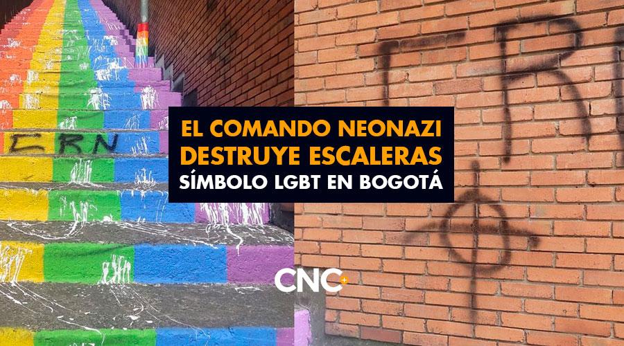 El comando neonazi DESTRUYE escaleras símbolo LGBT en Bogotá