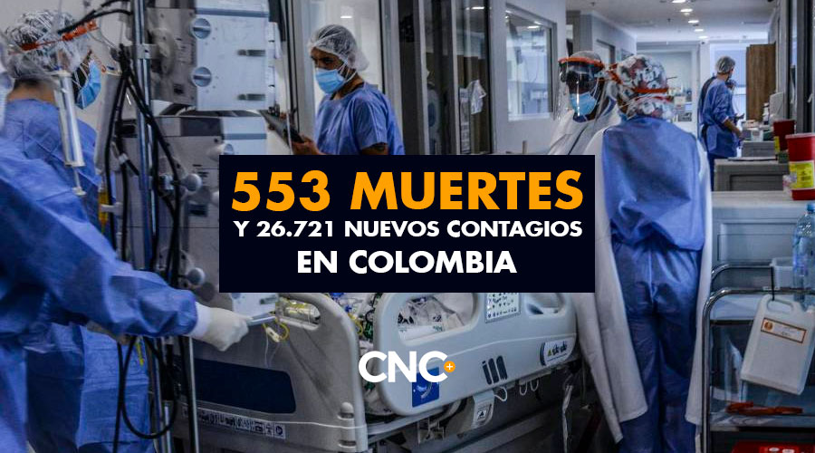 553 Muertes y 26.721 Nuevos Contagios en Colombia