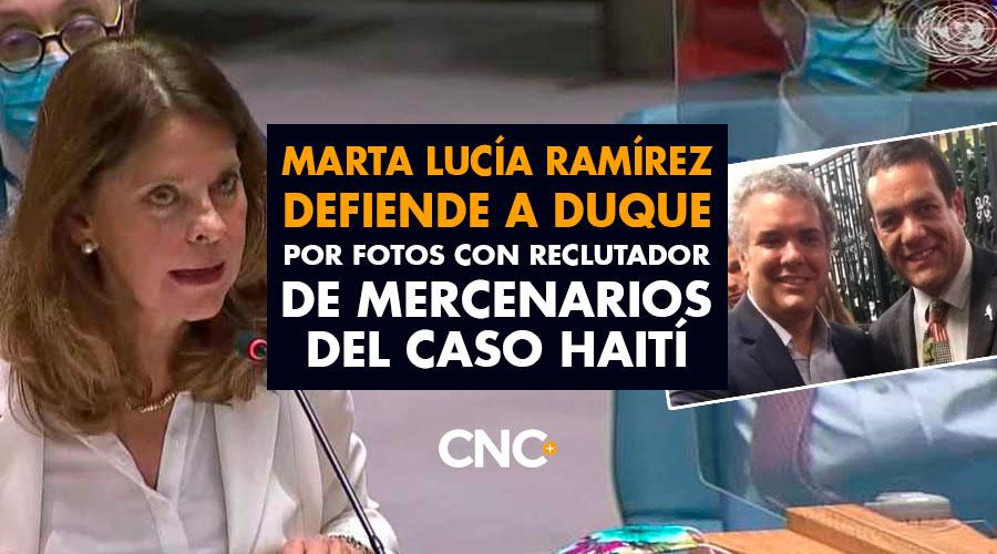 Marta Lucía Ramírez defiende a Duque por fotos con reclutador de mercenarios del caso Haití