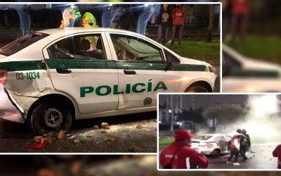 Patrulla de Policía fue atacada con Bomba Molotov en Bogotá